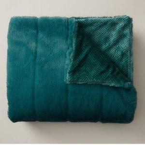 Faux fur teal throw boho luxe cozy